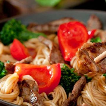 Thumbnail for Asian Fusion Grilled Beef Lo Mein